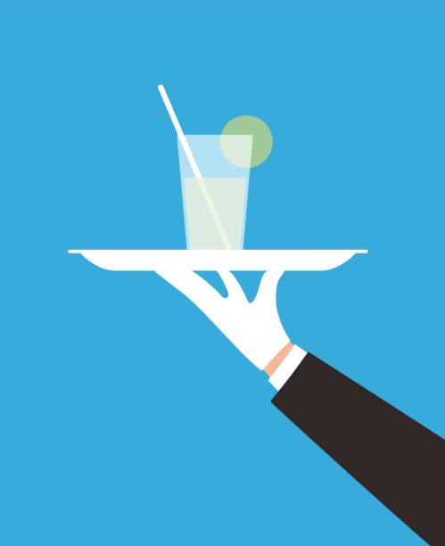 servant holding a tray, drink on the plate vector art illustration