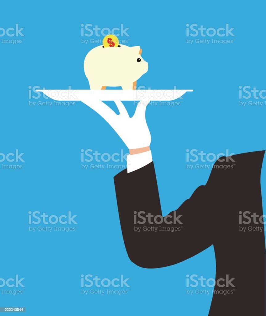 Homme tenant un plateau, Cochon tirelire sur la plaque - Illustration vectorielle