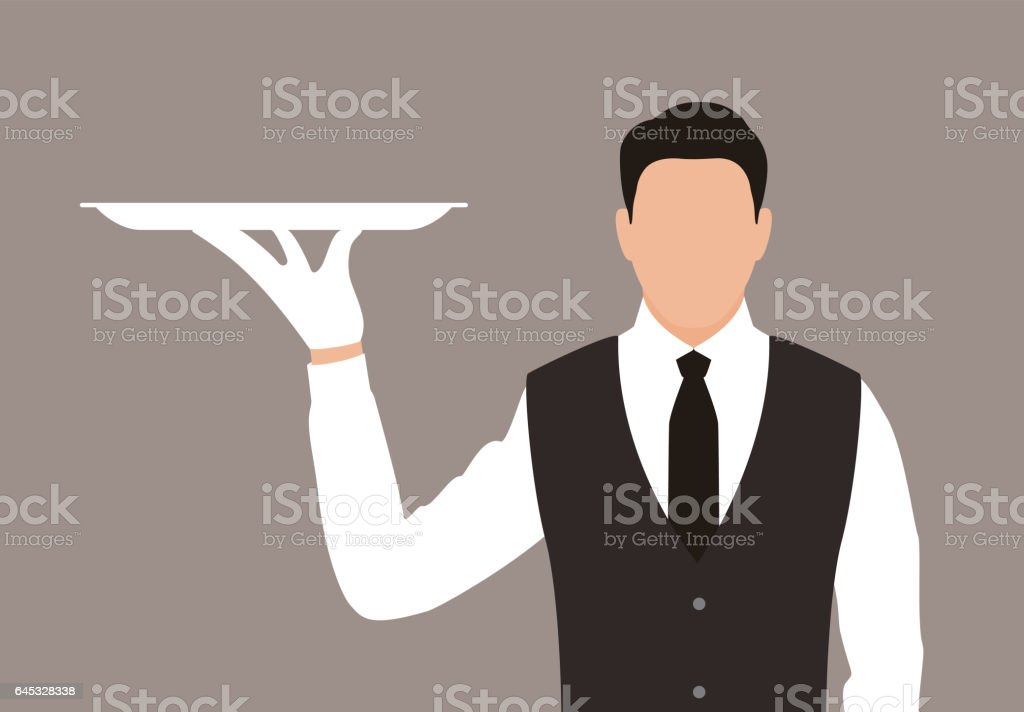 servant holding a tray, the plate is empty vector art illustration