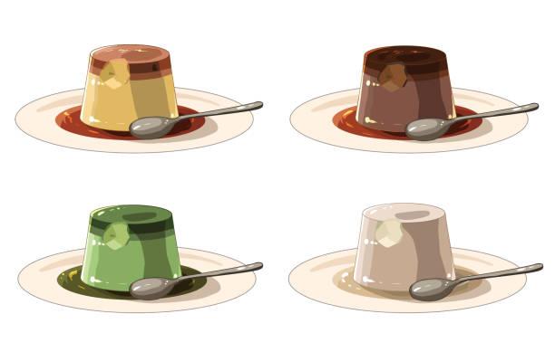 スプーン付きプリン(スプーン付き) - プリン スプーン点のイラスト素材/クリップアート素材/マンガ素材/アイコン素材