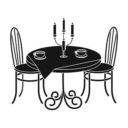레스토랑에서 테이블을 제공합니다 블랙 스타일 아이소메트릭 벡터 기호 재고 일러스트 웹에 가구 단일 아이콘 가구에 대한 스톡 벡터 아트 및 기타 이미지