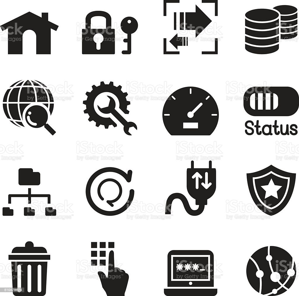 FTP , Server and Hosting icon set vector art illustration