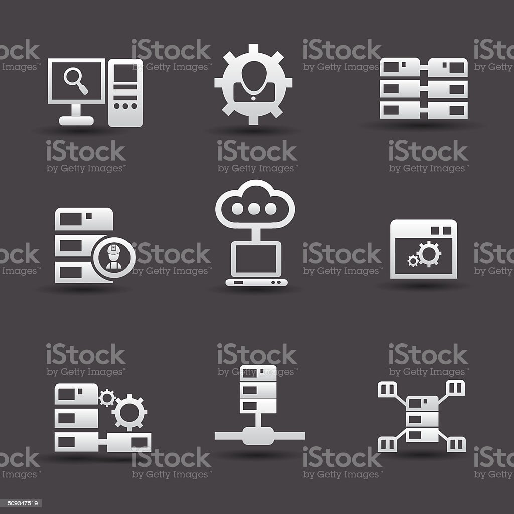 Server computer & database icons,vector royalty-free stock vector art