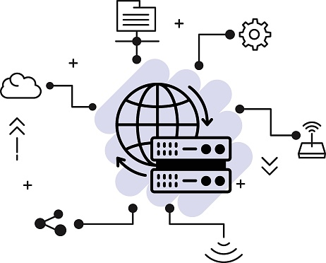 CDN Server concept, Content Delivery Network Vector Icon Design, Cloud computing and Web hosting services Symbol, Server Global Location Concept, Data Center Location stock illustration