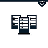 Server icon collection in glyph style, solid color vector