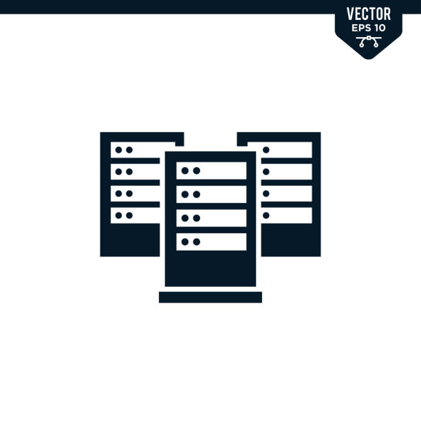 server icon collection in glyph style - computer server room stock illustrations