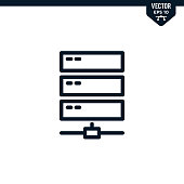 Server icon collection in outlined or line art style, editable stroke vector