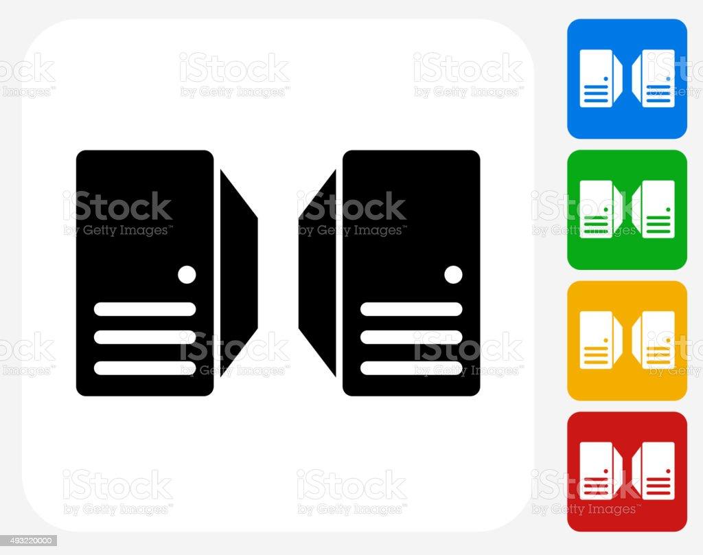 Server Icon Flat Graphic Design vector art illustration