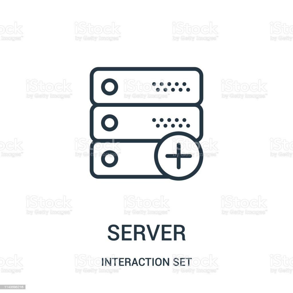 Server Icon Vector From Interaction Set Collection Thin Line