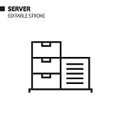 Server Line Icon, Outline Vector Symbol Illustration. Pixel Perfect, Editable Stroke.