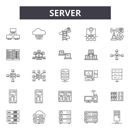 Server line icons, signs, vector set, linear concept, outline illustration
