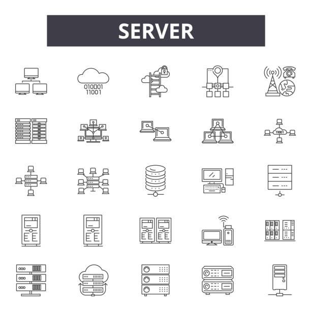 stockillustraties, clipart, cartoons en iconen met server line iconen, tekenen, vector set, lineair concept, outline illustratie - netwerkserver