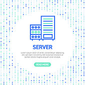 Server Line Icons. Simple Outline Symbol Icons with Pattern