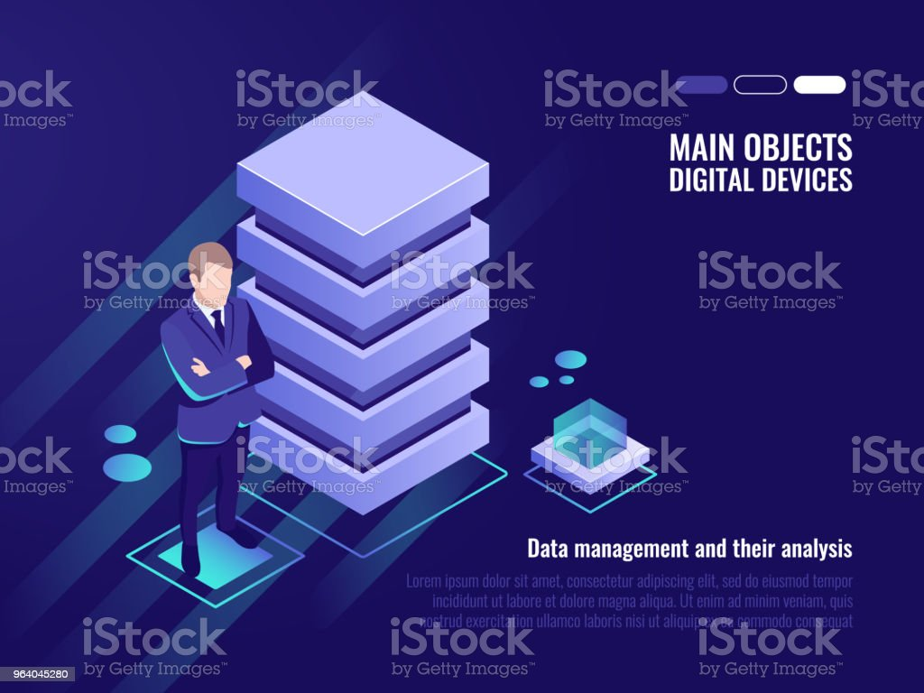 Server rack, data management and analysis - Royalty-free Business stock vector