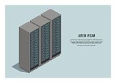 simple llustration of a server rack in isometric view