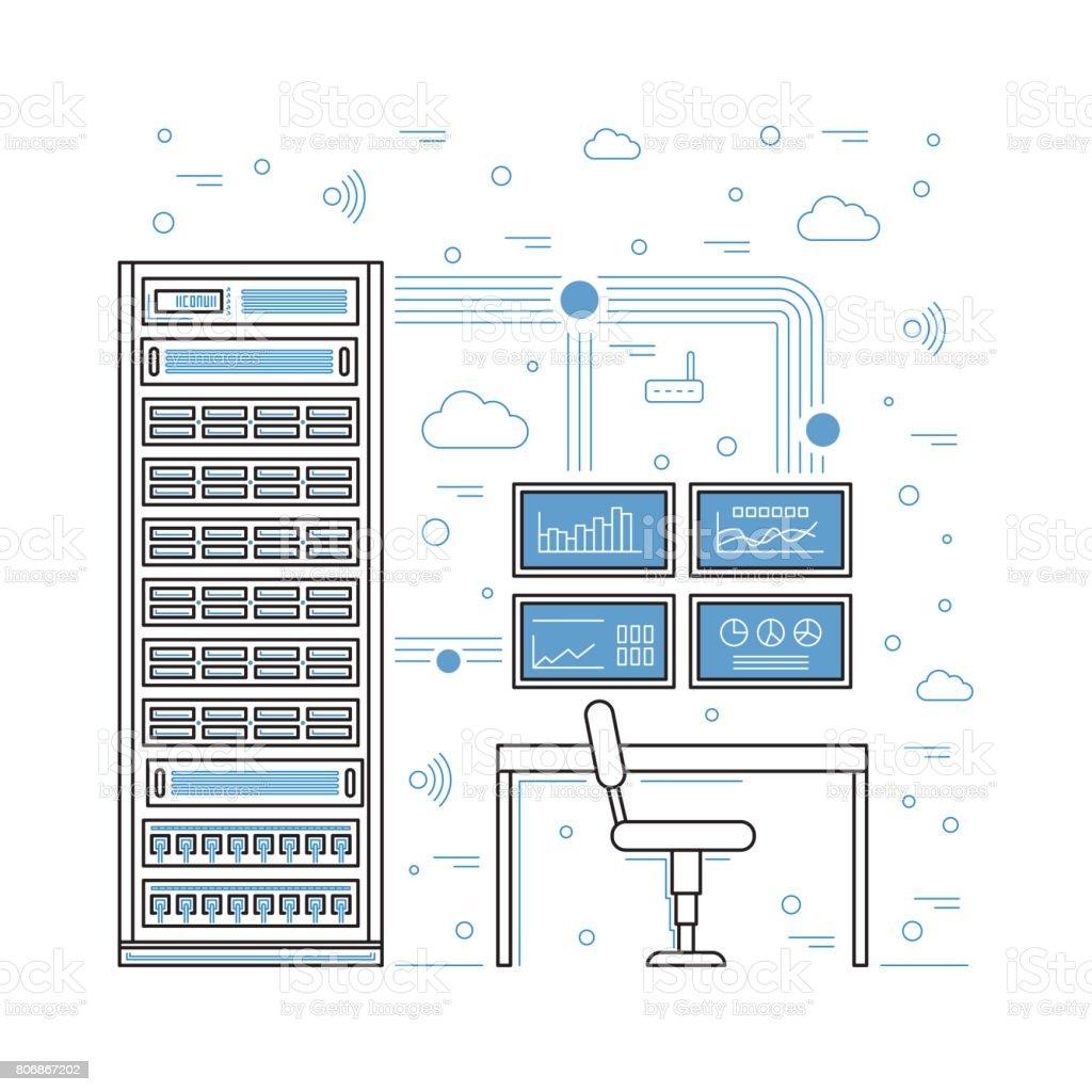 server room and data center vector art illustration