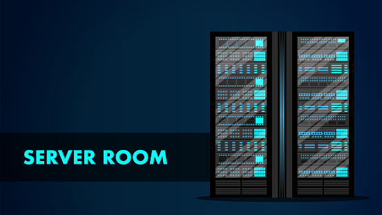 Server Room Concept. Web Hosting Center Data Bank.