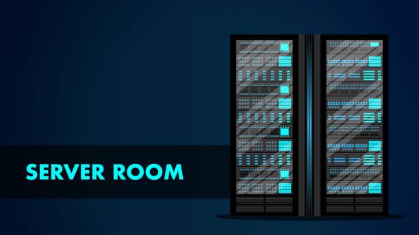 server-raum-konzept. web-hosting-center-datenbank. - kastenständer stock-grafiken, -clipart, -cartoons und -symbole