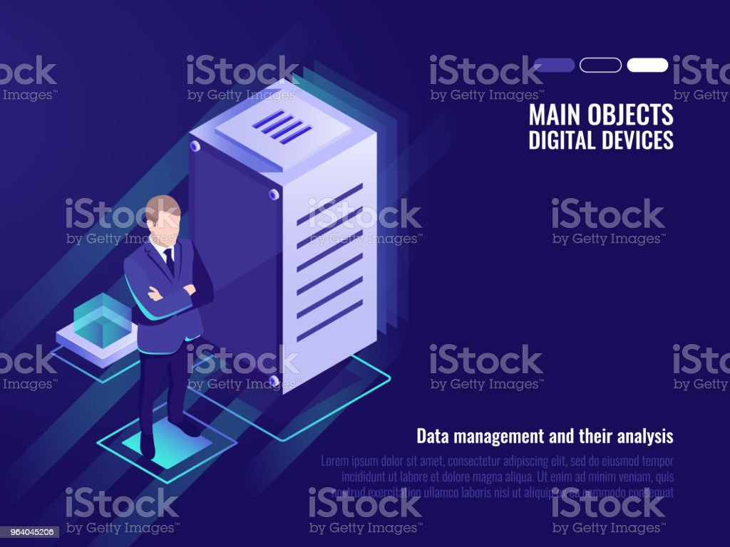 Server room, data management and storaging, information control - Royalty-free Business stock vector