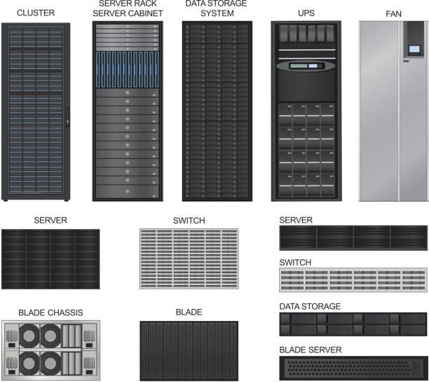 server zimmer ausrüstung. vektor-icons-set. - kastenständer stock-grafiken, -clipart, -cartoons und -symbole
