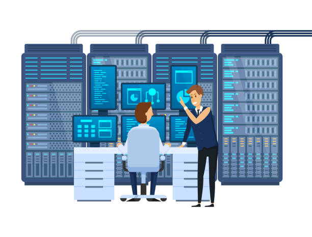 server room, equipping network administrator's workplace, monitoring database. - computer server room stock illustrations