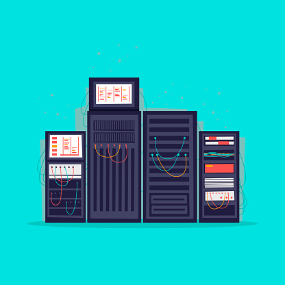 Server room. Flat vector illustration in cartoon style.