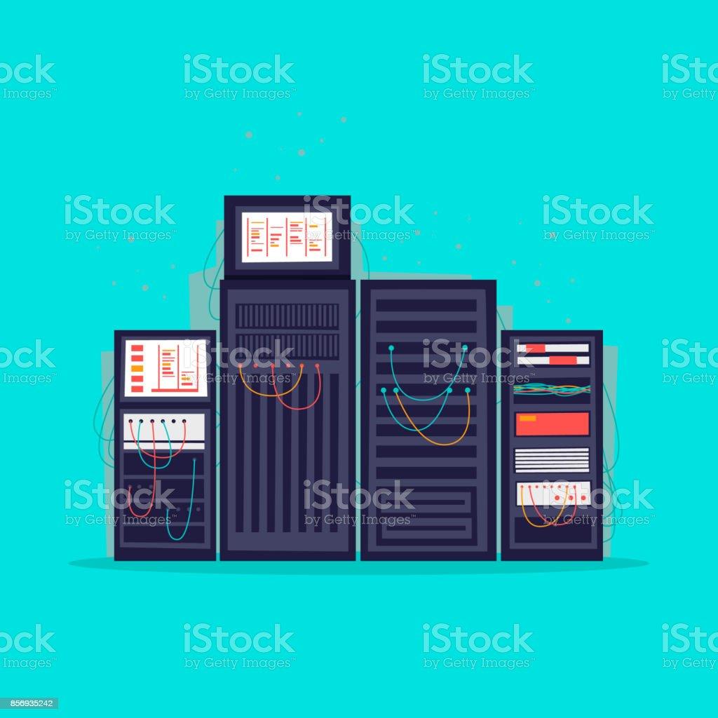 Server-Raum. Flache Vektor-Illustration im Cartoon-Stil. – Vektorgrafik