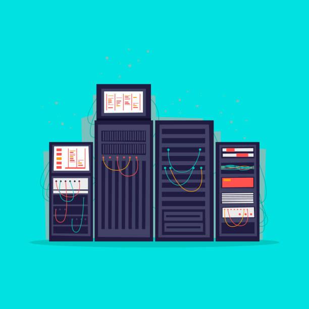 stockillustraties, clipart, cartoons en iconen met serverruimte. platte vectorillustratie in cartoon stijl. - netwerkserver