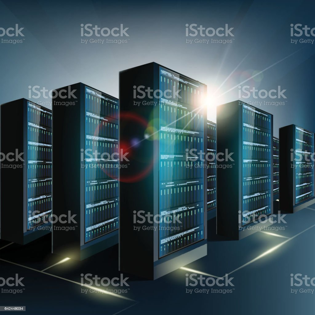 Server room in the datacenter. Network and internet technology. vector art illustration