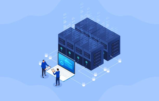 server room, modern financial network technology, big data network visualization - computer server room stock illustrations