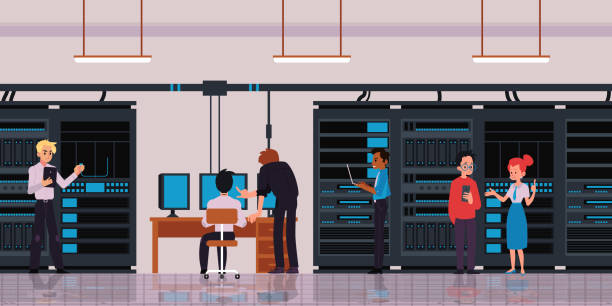 server room or data center with technology workers flat vector illustration. - computer server room stock illustrations