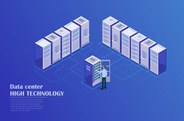 server room - computer server room stock illustrations