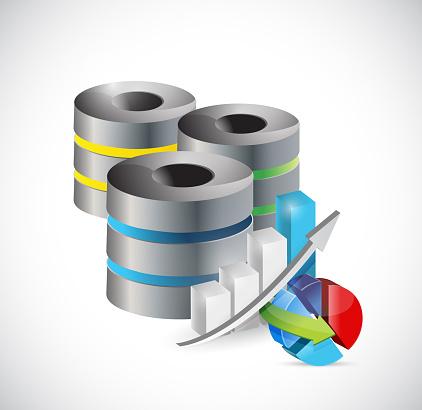 Servers and business graphs illustration design