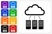 Servers Cloud Computing Icon Square Button Set. The icon is in black on a white square with rounded corners. The are eight alternative button options on the left in purple, blue, navy, green, orange, yellow, black and red colors. The icon is in white against these vibrant backgrounds. The illustration is flat and will work well both online and in print.
