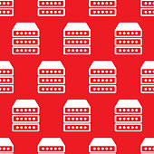 Vector illustration of servers in a repeating pattern against a red background.