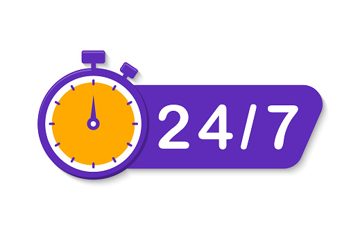 24 7 service. 24-7 open, concept with timer. Banner 24 hours a day open. Vector Illustration.