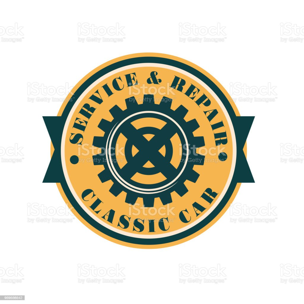 auto service logo design vintage automotive repair label vector rh istockphoto com Auto Service Logo Auto Mechanic Drawings