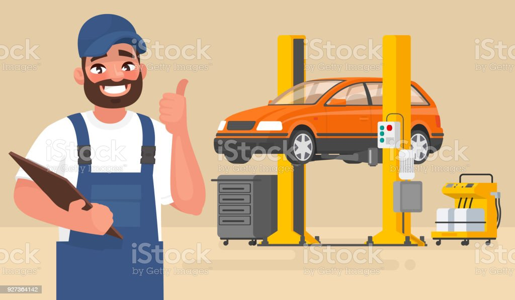 Service and repair of the car. Automechanic on the background of the car on the lift. Vector illustration - Royalty-free Adult stock vector