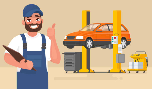 service and repair of the car. automechanic on the background of the car on the lift. vector illustration - mechanic stock illustrations, clip art, cartoons, & icons