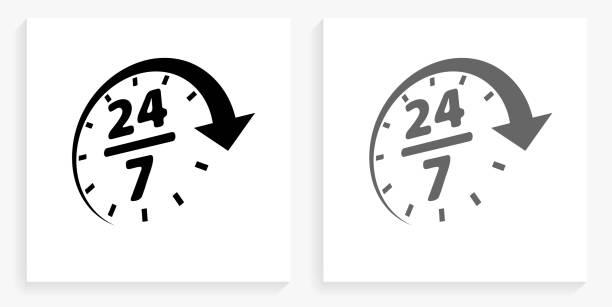24/7 Service Black and White Square Icon vector art illustration