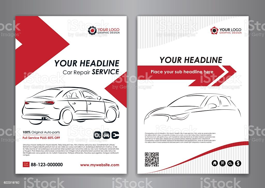 A5, A4 Service Car Business Layout Templates. Royalty Free A5 A4 Service Car  Business Manual Templates