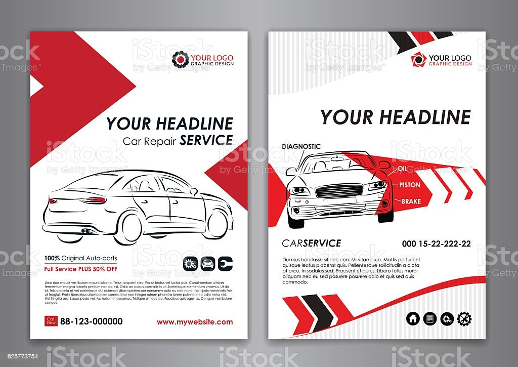 A5, A4 service car business layout templates. vector art illustration