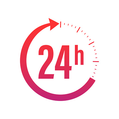 24-7 service concept. 24-7 open. Support service icon. Vector stock illustration. Abstract button on white backdrop
