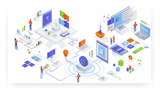 Computers and information technology, flat vector isometric illustration. IT service delivery, cdn. Software programs, apps installation. Wifi internet connection. Wireless network technology.