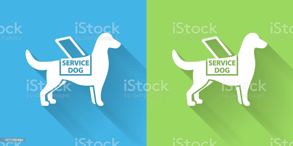 Service Dog Icon with Long Shadow. The icon is on Blue Green...