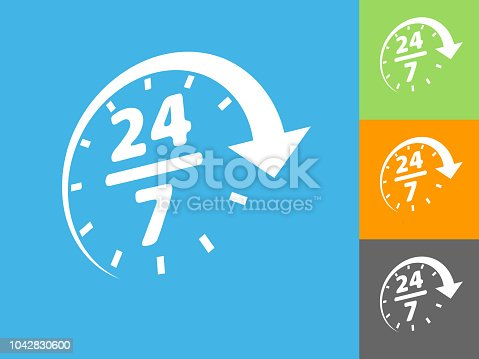 24/7 Service Flat Icon on Blue Background. The icon is depicted on Blue Background. There are three more background color variations included in this file. The icon is rendered in white color and the background is blue.