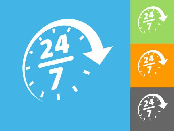 24/7 Service Flat Icon on Blue Background vector art illustration