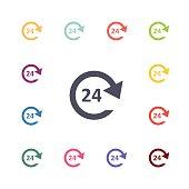 24 service flat icons set