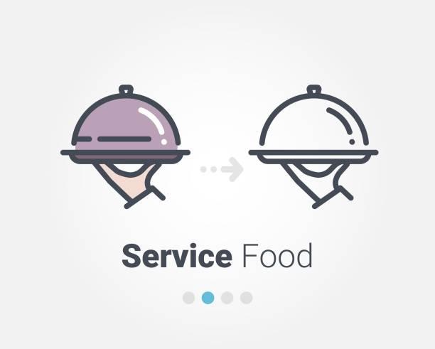 bildbanksillustrationer, clip art samt tecknat material och ikoner med tjänsten livsmedel vektor symbol - catering food