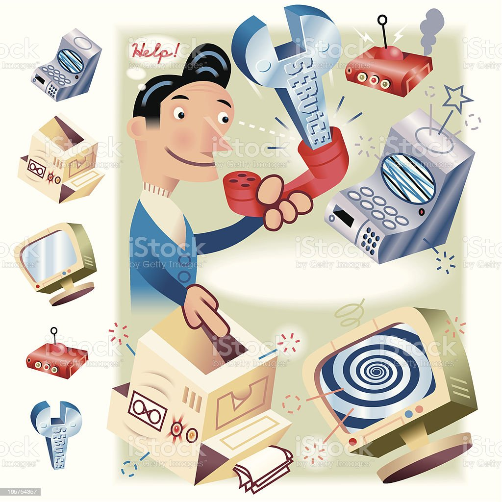 Service Help vector art illustration